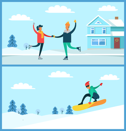 People figure skating and snowboarding, man with glasses and couple dancing on ice beside house, winter and frost isolated on vector illustration