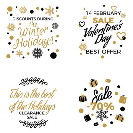 Winter Holidays Discounts Vector Concepts Set