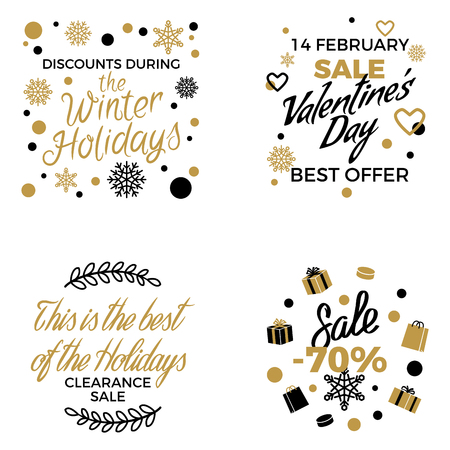 Winter Holidays Discounts Vector Concepts Set Reklamní fotografie - 94048338