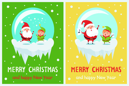 Merry Christmas Happy New Year Poster Santa Elf