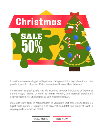 Christmas Half Price Sale Card Vector Illustration