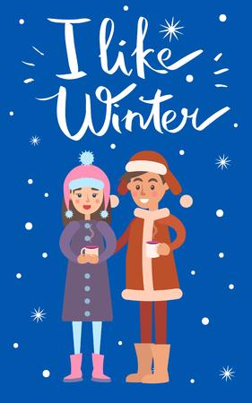 I Like Winter Boy and Girl Vector Illustration