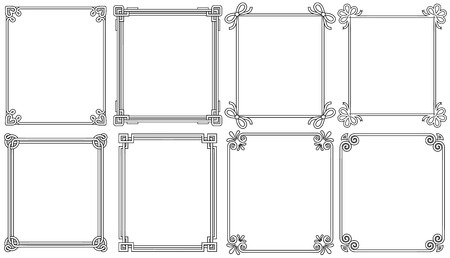 Ornamental corners in different style collection, vintage decorative elements, floral and geometric decor on borders vector illustrations set on white Vectores