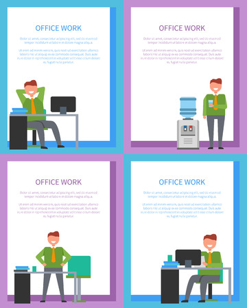 Office Work Posters Set Men at Workplace Have Rest