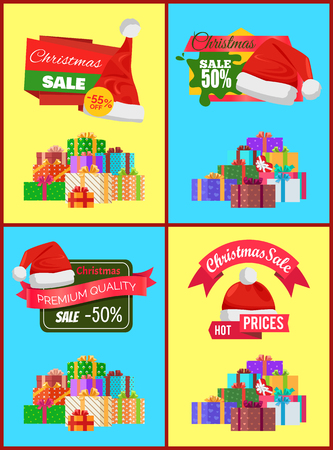 Set of Christmas Sale Promo Stickers Hats Labels