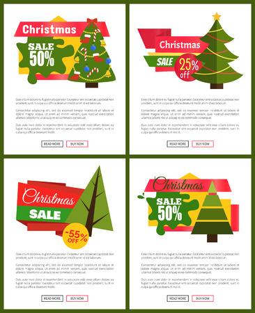 크리스마스 판매 핫 가격 포스터 50 해제 귀여운 새 해 나무, 축제 장난감, 밝은 리본, 광고 메시지와 벡터 일러스트 푸시 버튼