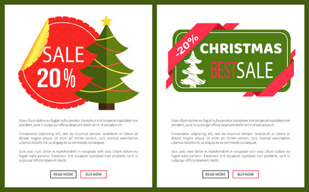 Discount Christmas sale banner with green new year tree vector illustration with advertising text isolated on deep green template, red ribbon buttons