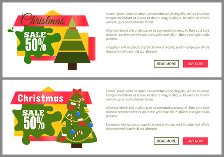 Christmas sale buy now posters vector illustration of two promotion cards with text sample, New Year trees with cute toys, push-buttons Stock Vector - 94147426