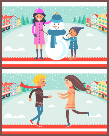 Family standing beside snowman wearing blue knitted scarf and hat, poster with couple happy to see each other, isolated on vector illustration.