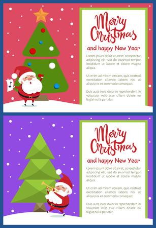 Merry Christmas Happy New Year Poster Santa Tree Stock Vector - 94241721