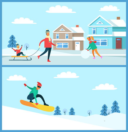 Snowboarder doing winter sport in slopes, father with kid on sled, mother with ball of snow, buildings and trees isolated on vector illustration. Illustration