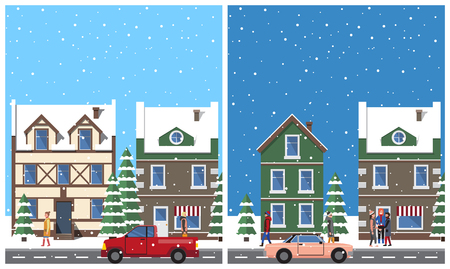 Winter in city placards set with snowy weather and falling snowflakes, people walking peacefully, buildings and cars, isolated on vector illustration.