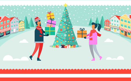 Man and woman on Christmas celebration, outdoors beside evergreen tree with presents and good mood, decoration and nature vector illustration.
