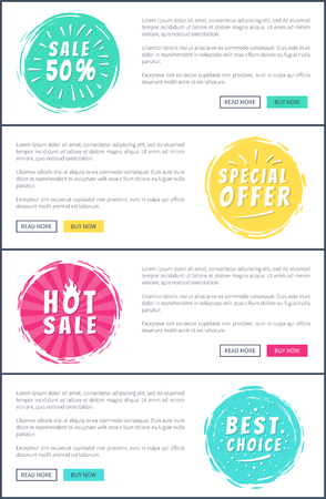 Set of Hot Sale Best Price Advertising Banners Illustration