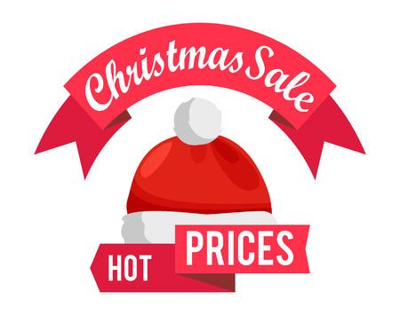 뜨거운 가격 산타 클로스 모자, 빨간 리본, 광고 판매 광고 레이블 화이트 절연 겨울 모자를 쓰고 아이콘으로 광고 배지 벡터