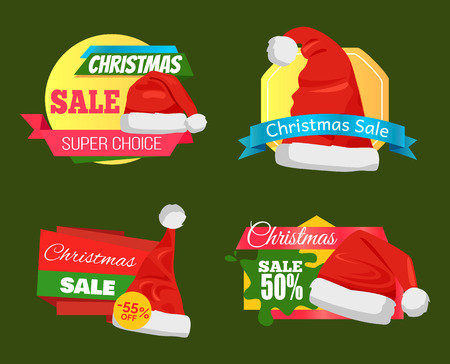 Great diversity of Santa Clause hats on shopping labels, promo stickers set with advertising info and discounts percent signs vector emblems on green