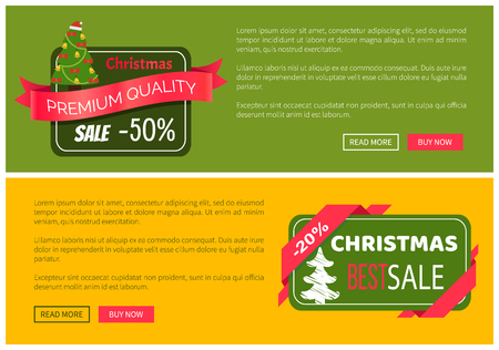 Premium quality hot price hristmas sale card vector illustration isolated on yellow and green backgrounds, ad text, tree ribbons push-buttons toys Illustration