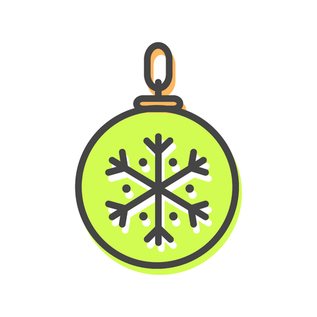 Ball with tread that allows to hang ot on Christmas evergreen tree, icon of bauble decoration of pine, vector illustration isolated on white Çizim