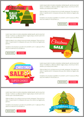 Set kerstuitverkoop Super Choice halve kosten kaarten Stock Illustratie