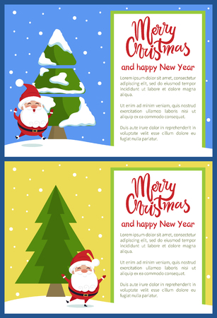 Merry Christmas and Happy New Year poster with Santa merrily jumping near Xmas tree covered by ice on snowy backdrop vector illustration banners set