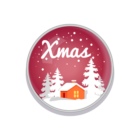 Xmas Push-button Depict on Red Vector Illustration