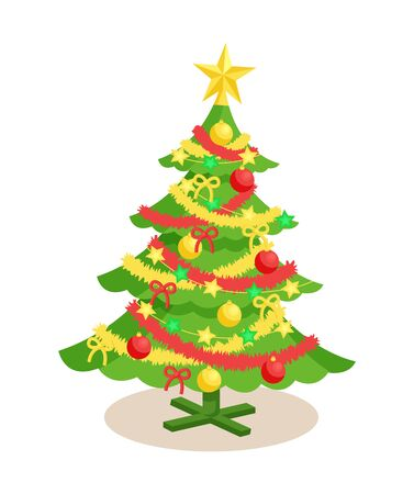Decorated Christmas Spruce Vector Illustration