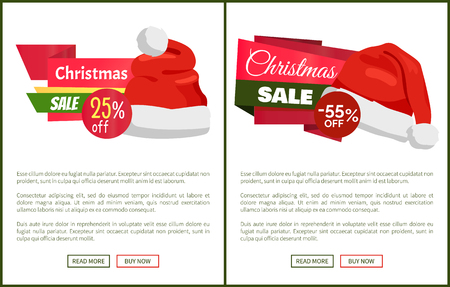 Discounts tags Santa Claus hats on promo labels Christmas sale concept, vector website posters with text read more and buy now