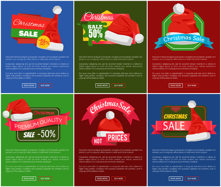 Six Christmas sale 50 percent off promo posters vector illustration with lot of red festive caps with pretty white buboes, text sample, glossy ribbons Illustration