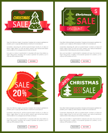 Best Christmas sale cards vector illustrations with cute trees, bright red ribbons, ad text, isolated on white background with deep green frames