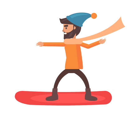 Snowboarder wearing hat and long scarf with happy smile on face vector illustration