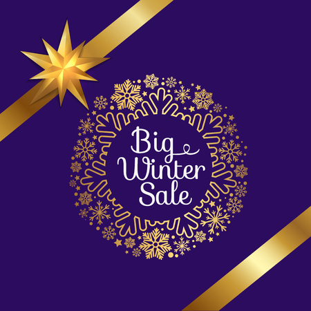 Big winter sale poster with gift ribbons, decorative frame made of golden snowflakes, snowballs of gold in xmas concept vector on purple background Ilustracja