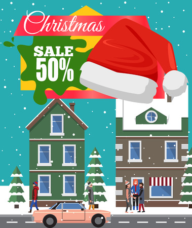 Christmas sale -50 off, poster with headline, buildings with windows, trees covered with snow, walking people and cars, vector illustration Illustration