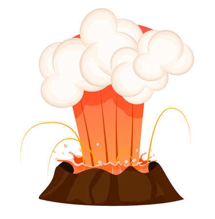 Strong jet of effluent hot lava, white clouds over top isolated. Erupting rock pinnacle volcano disaster with burning fire, last stage. Vector illustration of geological formations in cartoon style. Çizim