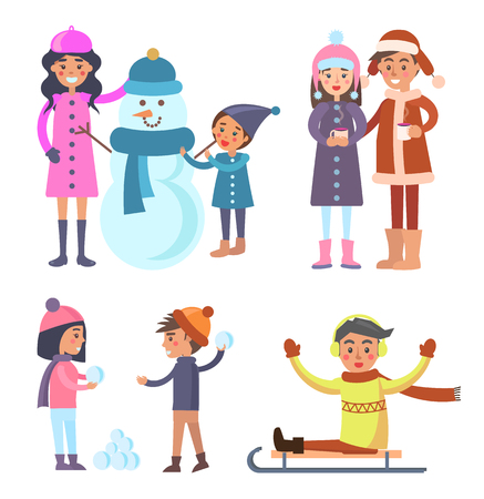 People Icons Collection Winter Vector Illustration Vettoriali