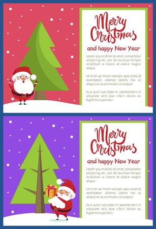 Merry Christmas Happy New Year Poster Santa Tree Stock Vector - 94284806