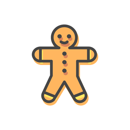 Gingerbread man Christmas cookie, biscuit made in form of stylised male, traditional sweets and tasty food on holiday isolated on vector illustration