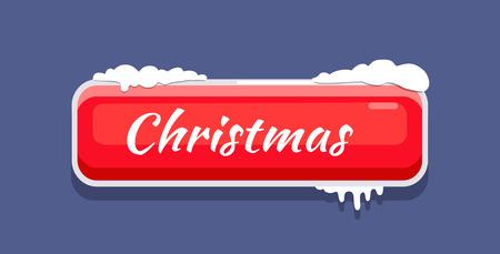 雪と赤いクリスマスボタンベクトルイラスト
