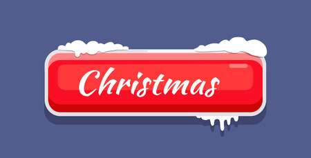 Red Christmas Button Vector Illustration with Snow Ilustracja