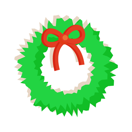 Wreath with bow of red color, green fluffy toy produced at Santa Claus factory at Christmas holiday celebration isolated on vector illustration