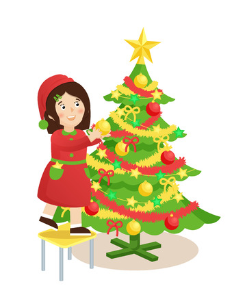 Girl decorating evergreen Christmas tree, pine with tinsel, star on top and balls and ribbons on branches, female on stool vector illustration