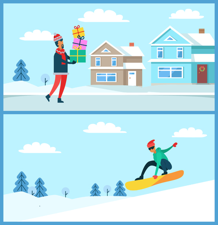 Man standing with gift and snowboarder jumping in air on board, nature in winter, snow and trees, building and wreath on door, vector illustration Illustration