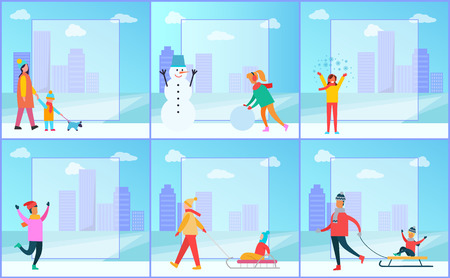 Winter posters collection, family walking dog, woman creating snowman, female happy because of snow, father and kid on sled vector illustration