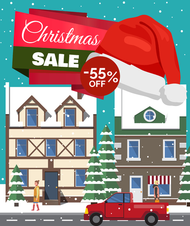 Christmas sale -55 off, poster with headline, buildings with windows, trees covered with snow, walking people and cars, vector illustration Illustration