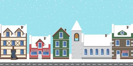 大きな鐘で覆われた建物や塔、雪で覆われた都市景観、落ちる雪片と空の道路、ベクトルイラストで孤立した都市  イラスト・ベクター素材