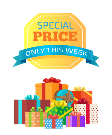 Special price only this week vector illustration with ad message isolated on light yellow sticker with bright blue ribbon, set of colorful gift boxes