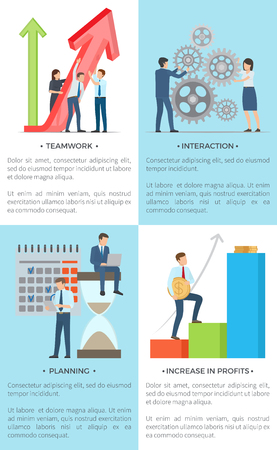 Business set banners vector illustration of male and female employees holding large arrow, spinning gear, planning future projects,increasing profits