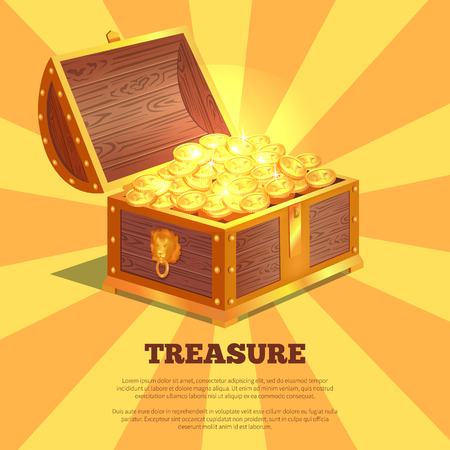 Treasure Bright Wooden Box Vector Illustration Ilustração