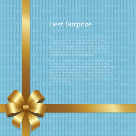 Best surprise certificate design with golden bow in left down corner, place for text isolated on background with blue chaotic lines vector illustration