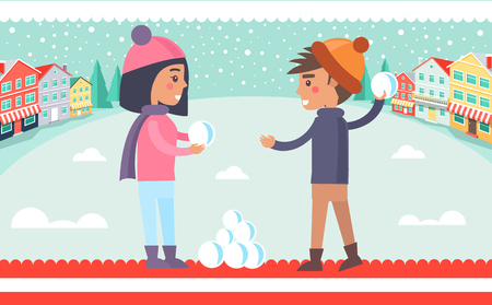 Boy and girl playing snowball fight, kids having fun in winter city with buildings and trees, clear sky and falling snowflakes vector illustration Illustration