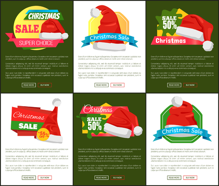 Set of cute red hats with white buboes Christmas sale promo banners vector illustration with text and push-buttons isolated on deep green and white background. Illustration